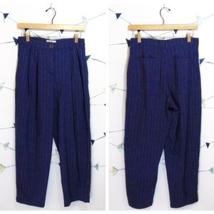 UO High Waist Striped Wide Legs Navy Palazzo Pants